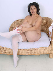 Hairy brunette stockings Mature in